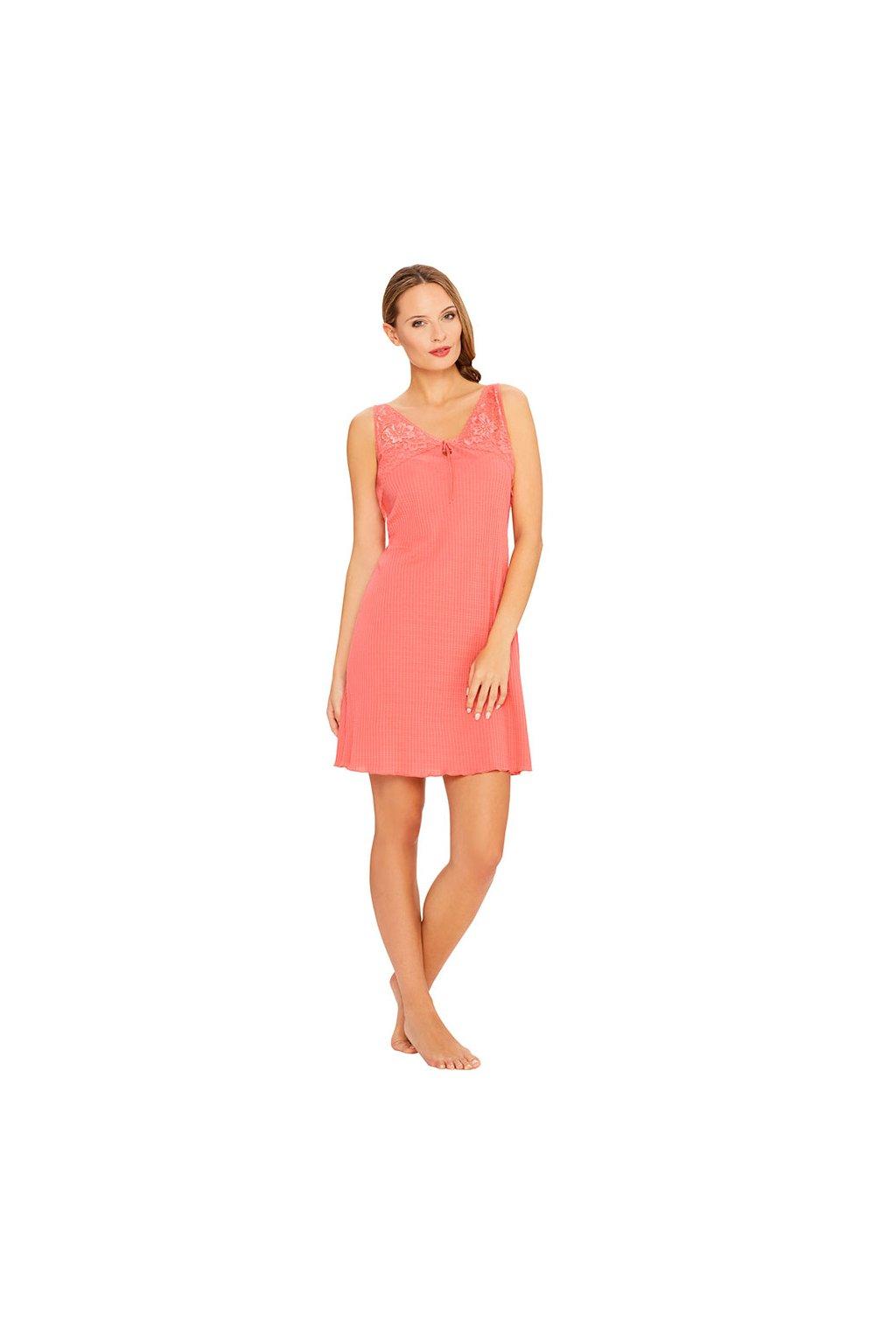Dámská noční košile s úzkými ramínky, 104415 418, růžová