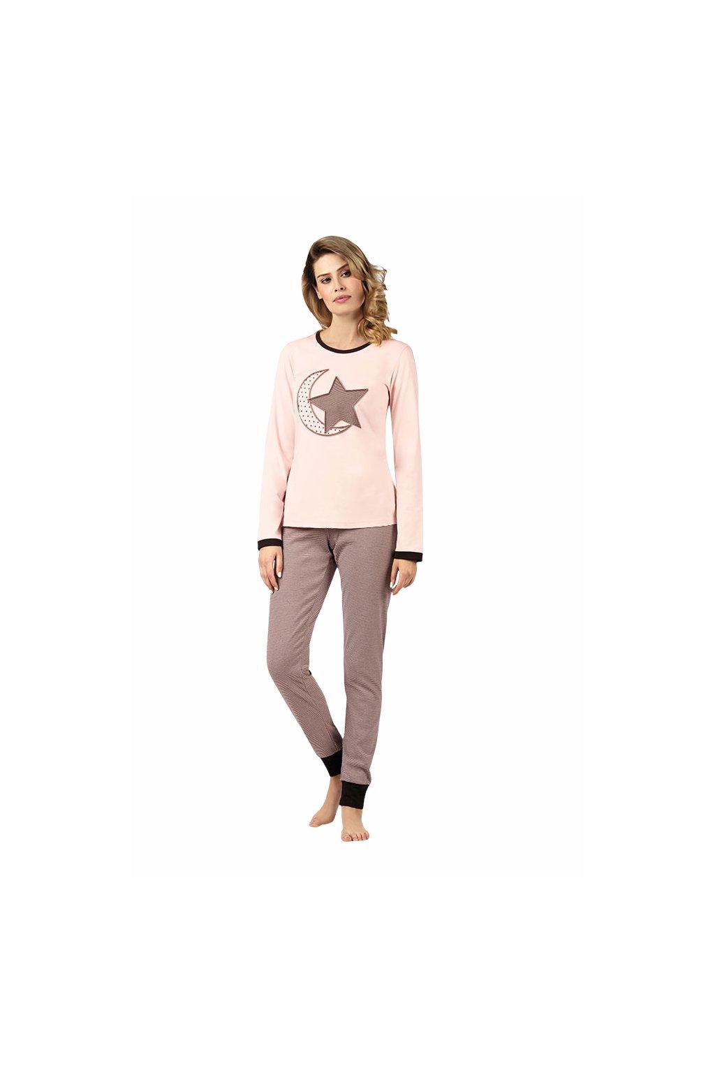 Dámské pyžamo s dlouhým rukávem, 104421 904, růžová