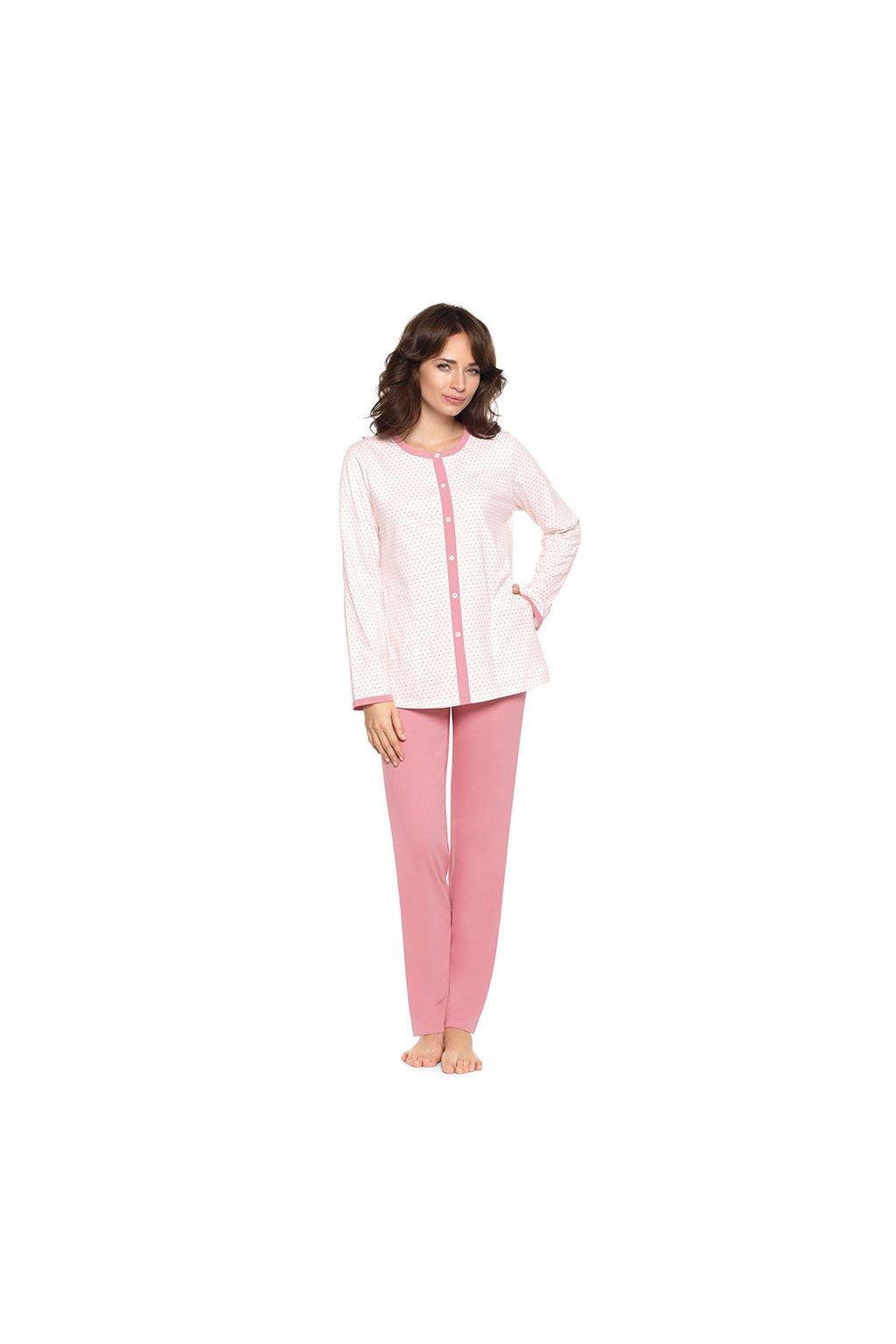 Dámské pyžamo s dlouhým rukávem, 104381 62, růžová