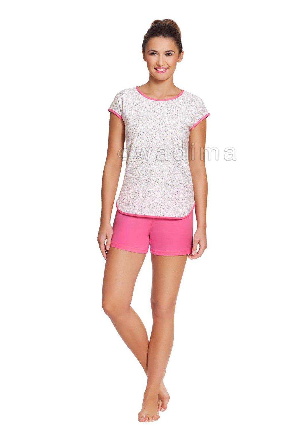 Dámské pyžamo s krátkým rukávem, 104361 11, růžová