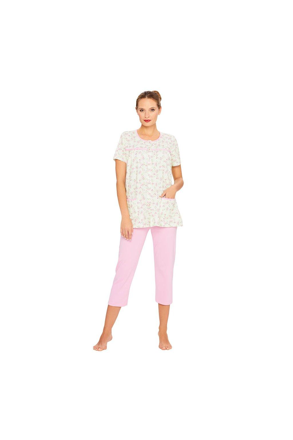 Dámské pyžamo s krátkým rukávem a 3/4 nohavicemi, 104371 853, růžová