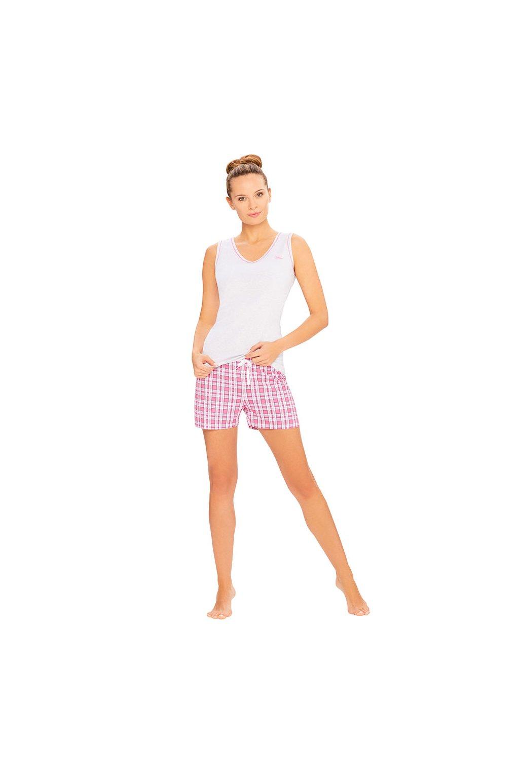 Dámská pyžamová halenka se širokými ramínky, 104391 417, růžová