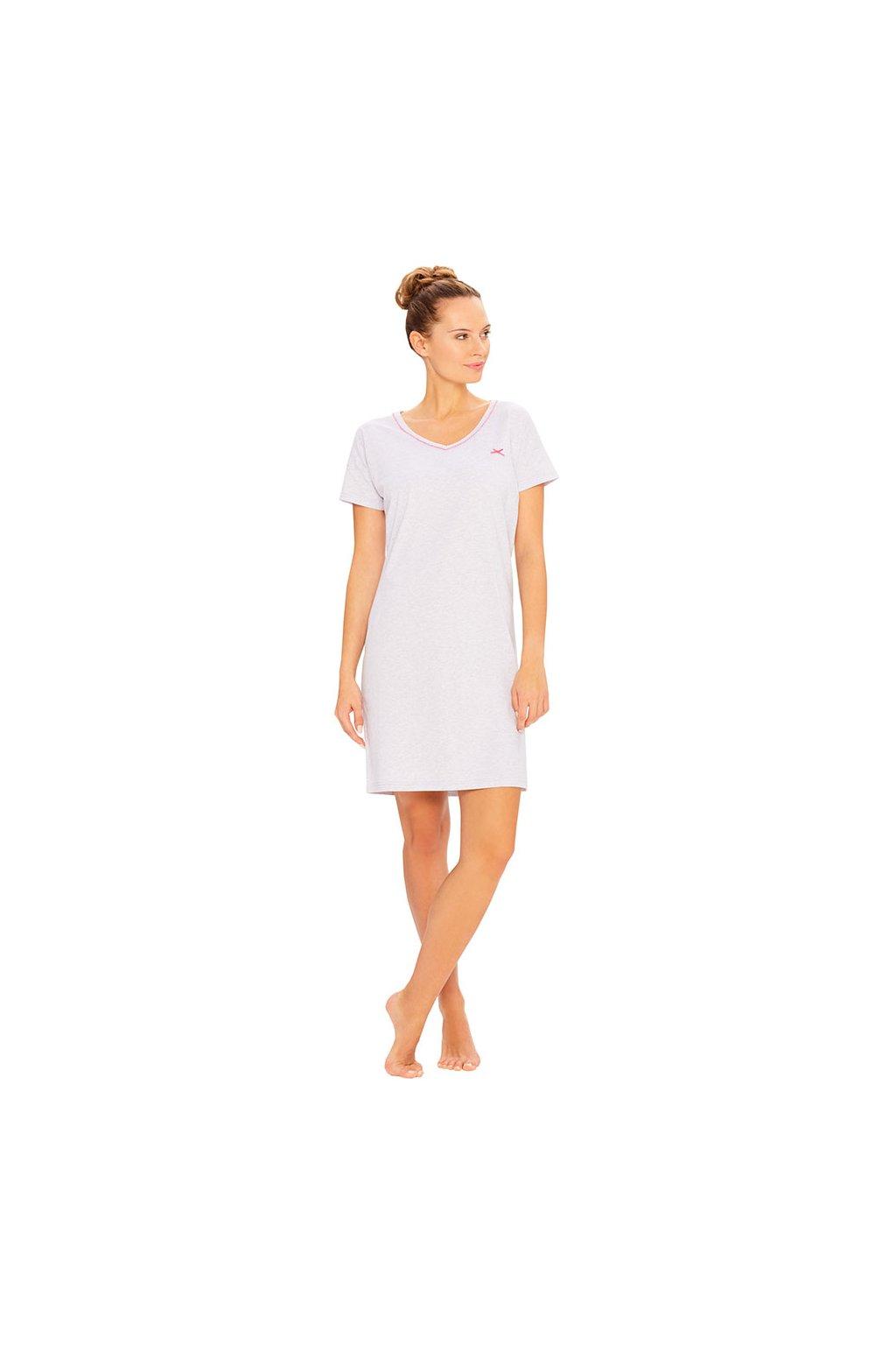 Dámská noční košile s krátkým rukávem, 104393 417, růžová