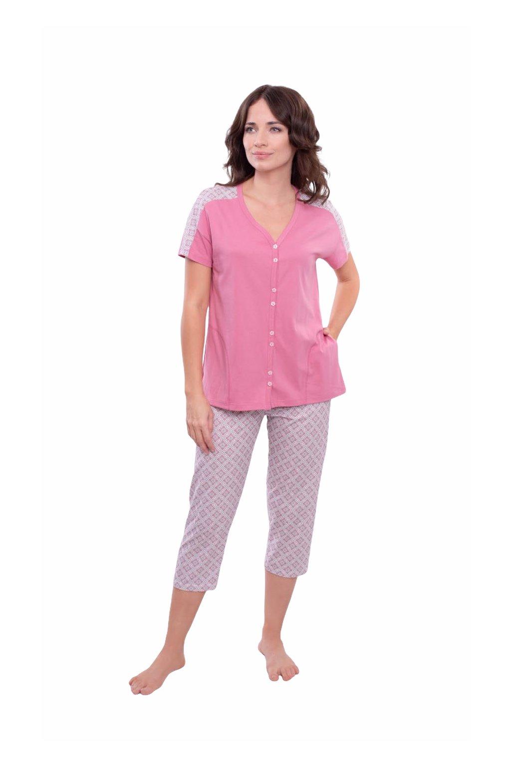 Dámské pyžamo s krátkým rukávem a 3/4 nohavicemi, 104570 488, růžová