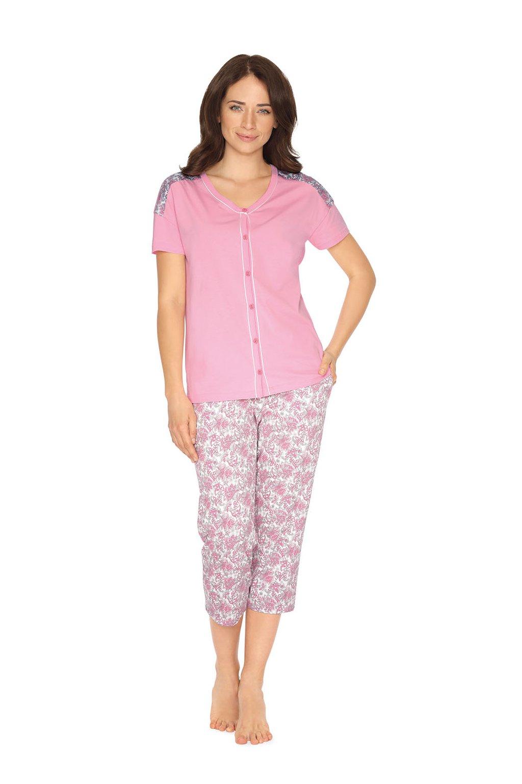 Dámské pyžamo s krátkým rukávem a 3/4 nohavicemi, 104515 242, růžová