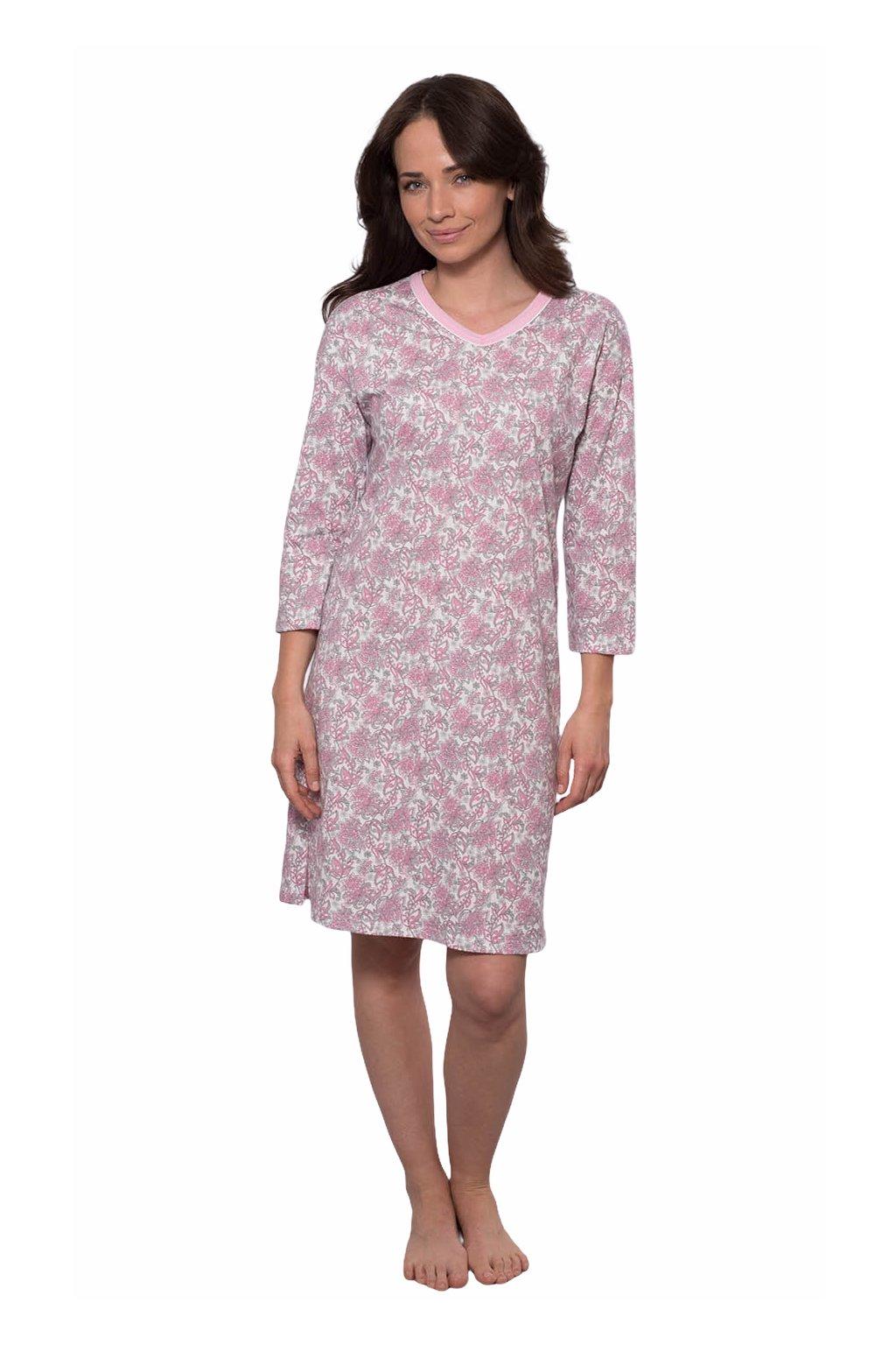 Dámská noční košile s 3/4 rukávem, 104535 242, růžová
