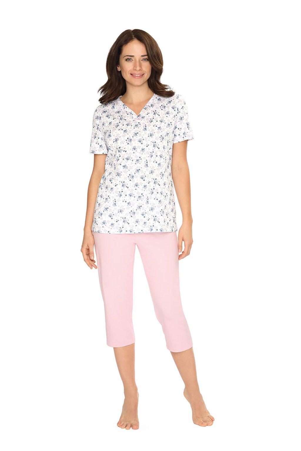 Dámské pyžamo s krátkým rukávem a 3/4 nohavicemi, 104482 10, růžová