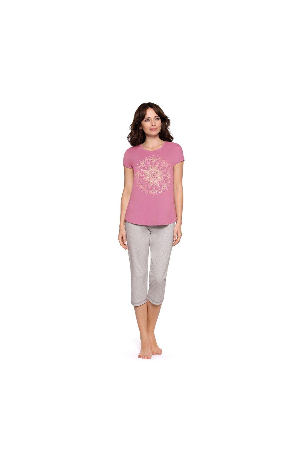Dámské pyžamo s krátkým rukávem a 3/4 nohavicemi, 104470 414, růžová