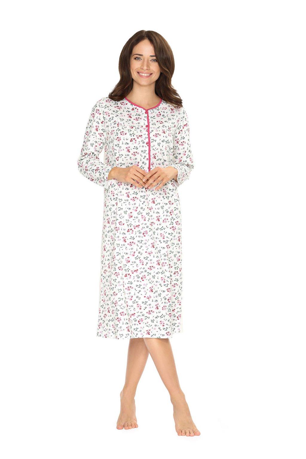 Dámská noční košile s dlouhým rukávem, 104214 252, růžová