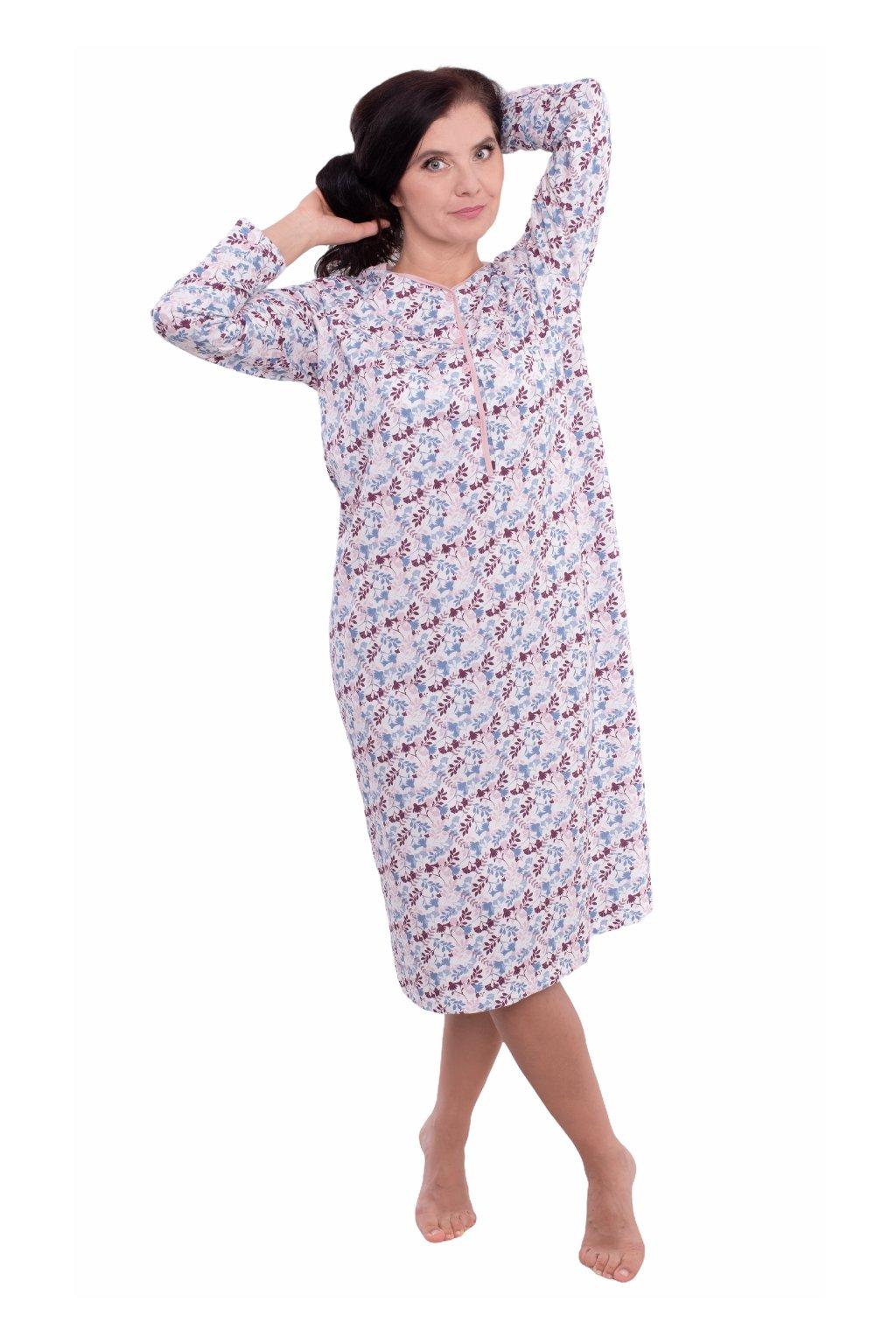 Dámská noční košile s dlouhým rukávem, 104214 485, růžová