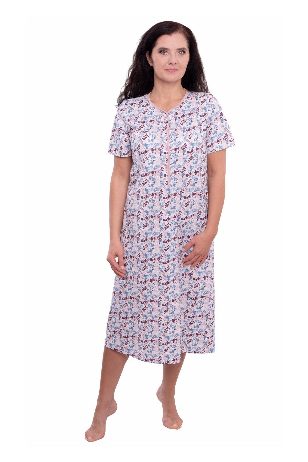 Dámská noční košile s krátkým rukávem, 104232 485, růžová