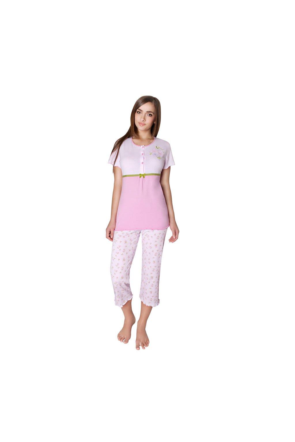 Dámské pyžamo s krátkým rukávem a 3/4 nohavicemi, 104233 225, růžová