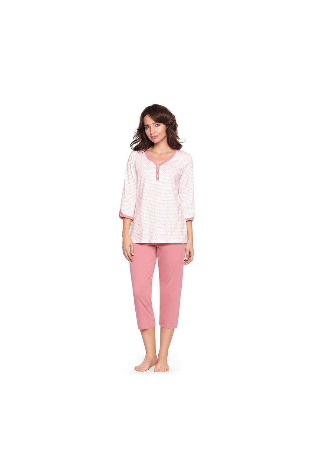 Dámské pyžamo s 3/4 rukávem, 104236 62, růžová