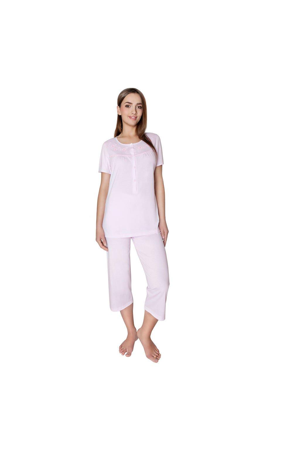 Dámské pyžamo s krátkým rukávem a 3/4 nohavicemi, 104177 225, růžová
