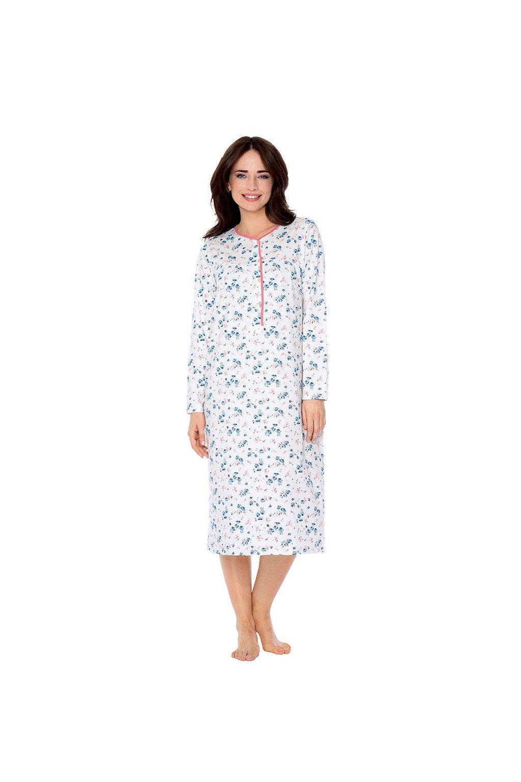 Dámská noční košile s dlouhým rukávem, 104214 67, růžová