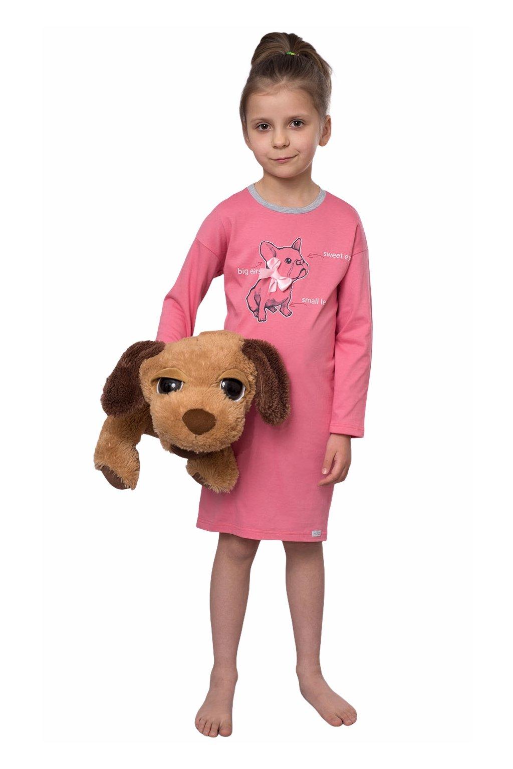 Dívčí noční košile s dlouhým rukávem, 404164 488, růžová