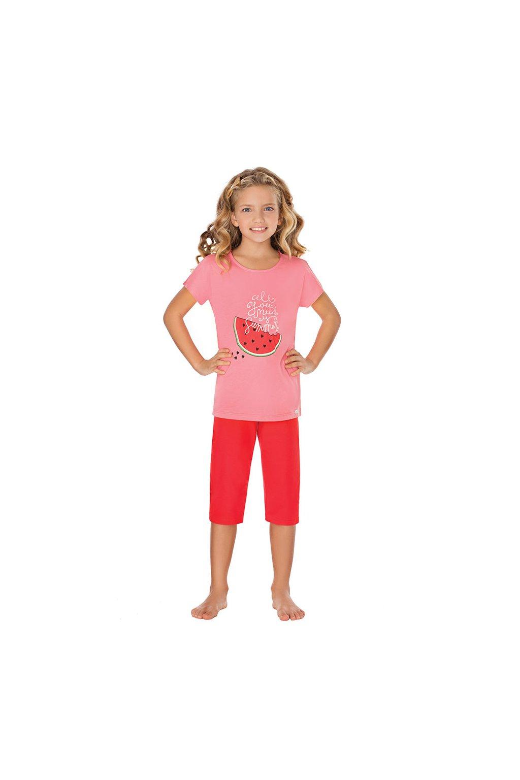 Dívčí pyžamo s krátkým rukávem a 3/4 nohavicemi, 404142 916, růžová