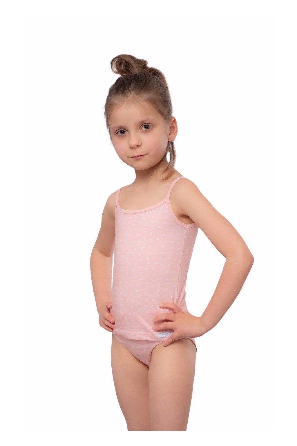 Dívčí košilka s úzkými ramínky, 40256 9, růžová