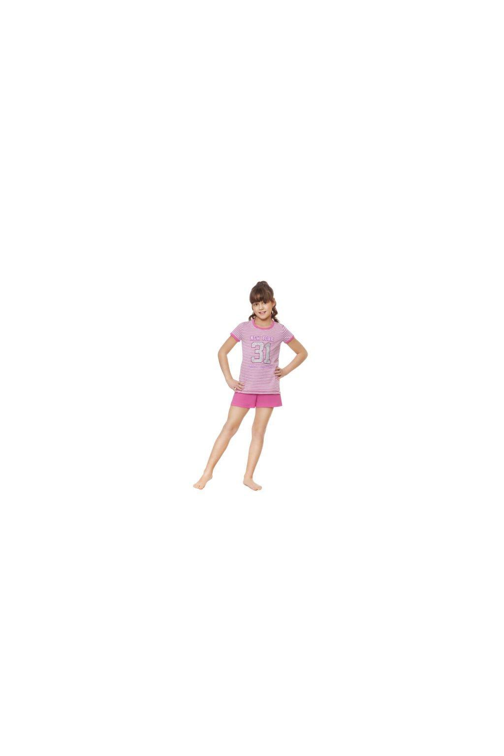 Dívčí pyžamo s krátkým rukávem, 404111 11, růžová