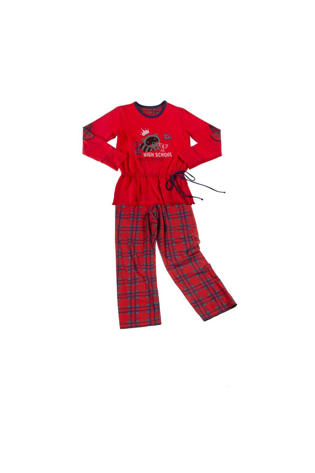 Dívčí pyžamo s dlouhým rukávem, 40468 189, červená