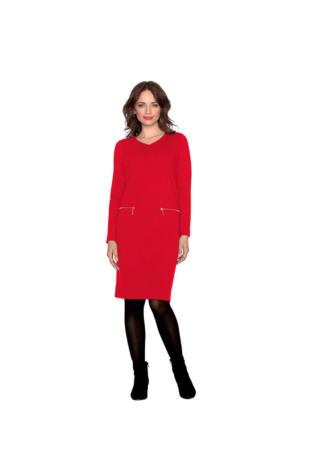 Dámské šaty s dlouhým rukávem, 10591 258, červená