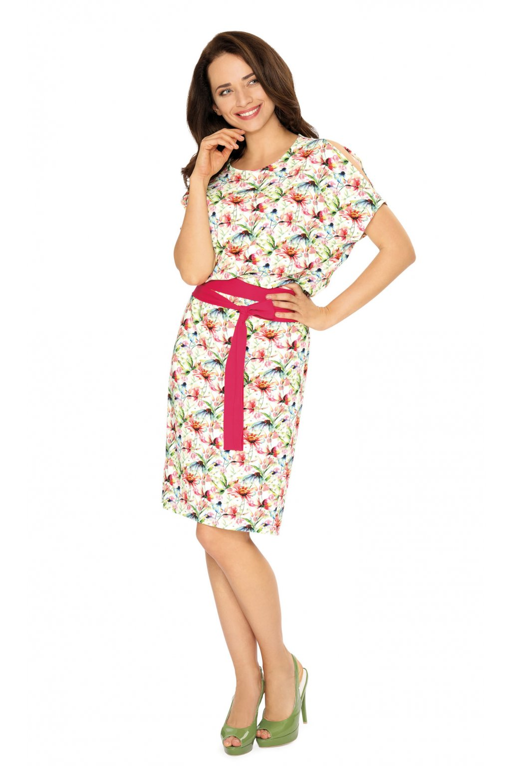 Dámské šaty s krátkým rukávem, 105126 221, červená