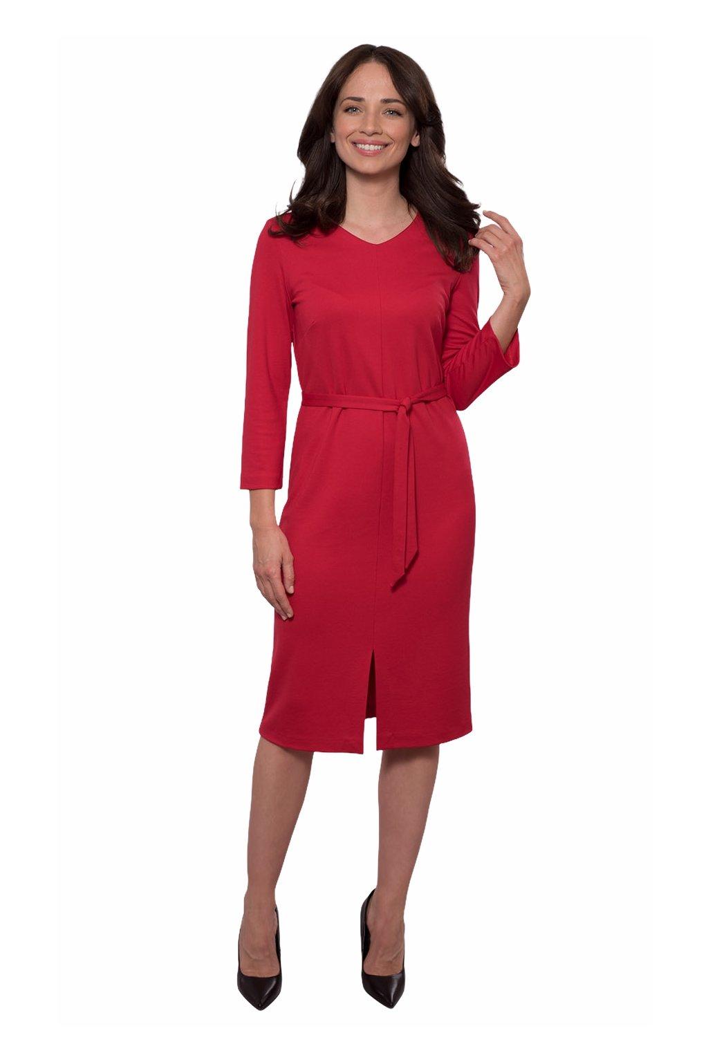 Dámské šaty s 3/4 rukávem, 105133 250, červená