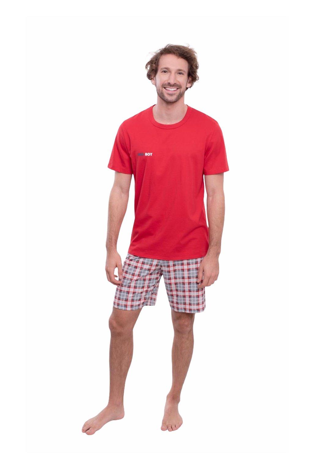 Pánské pyžamo s krátkým rukávem, 204147 189, červená