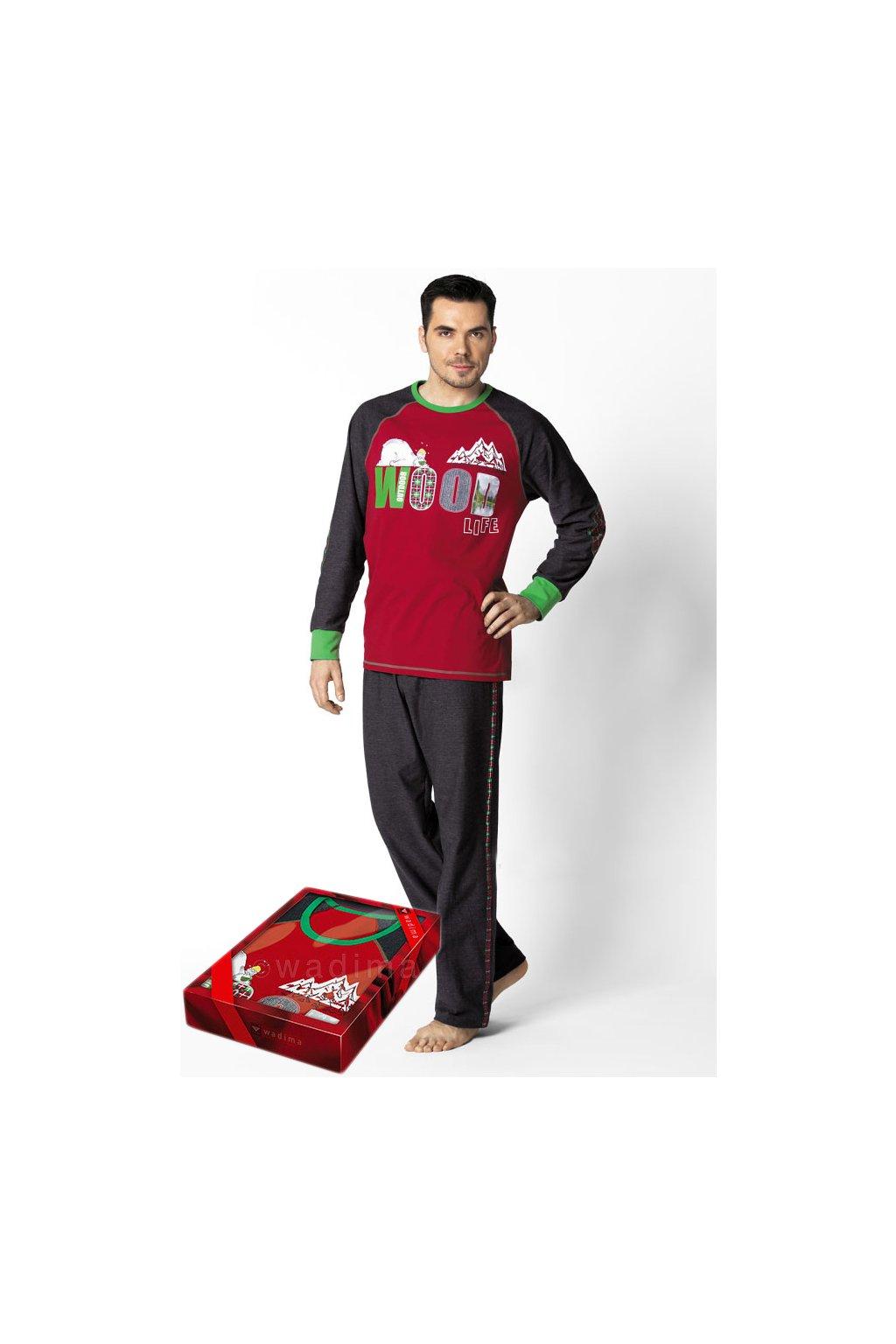 Pánské pyžamo s dlouhým rukávem, 20460 791, červená/černá
