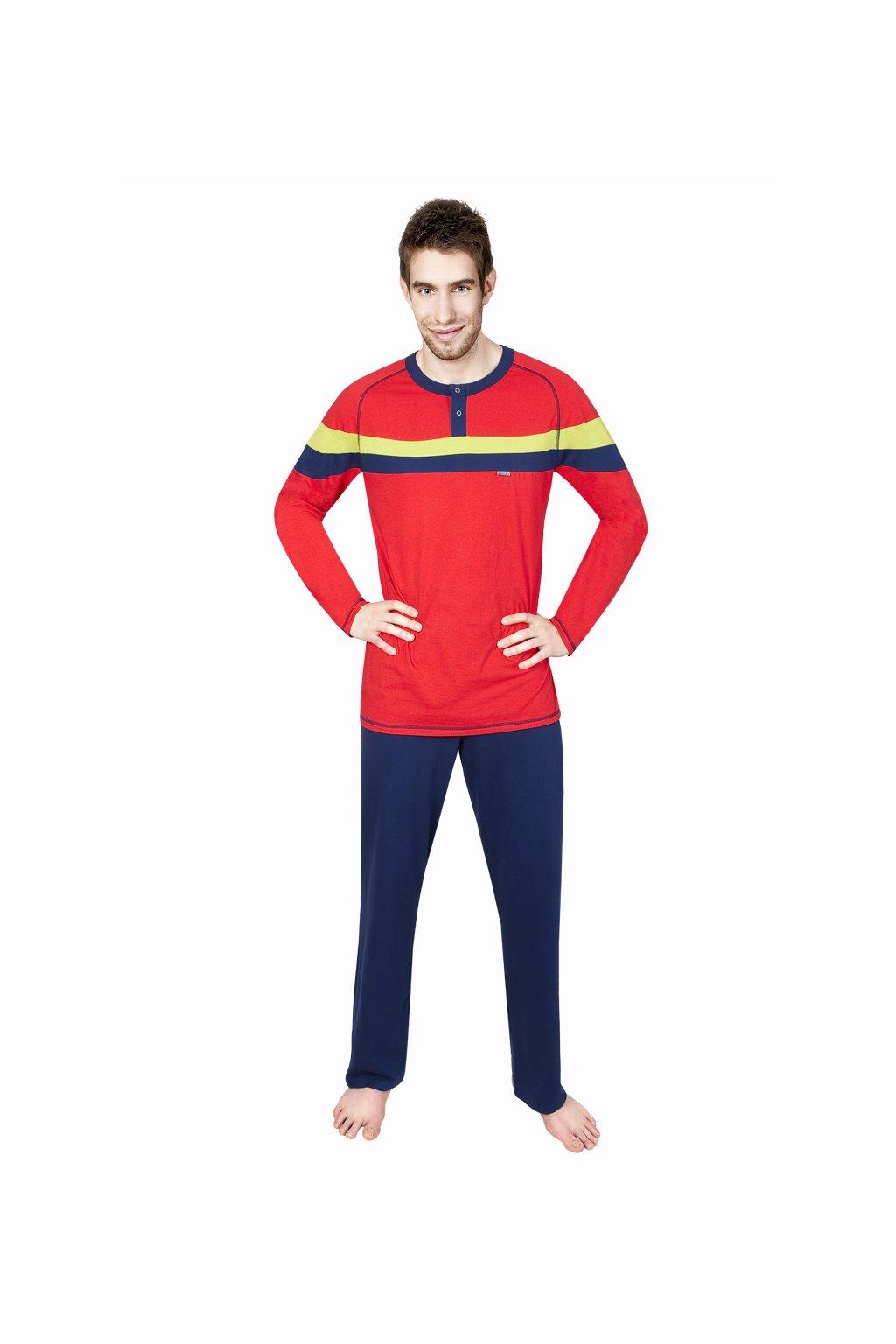 Pánské pyžamo s dlouhým rukávem, 20445 690, červená/modrá