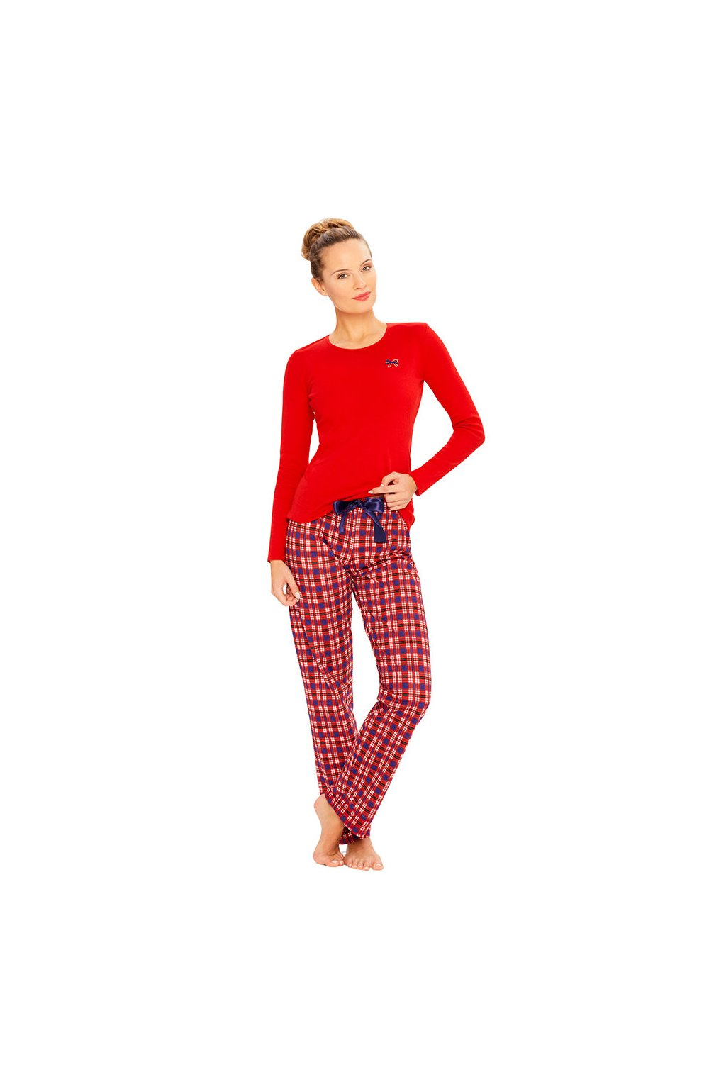 Dámské pyžamové kalhoty s dlouhými nohavicemi, 104353 250, červená
