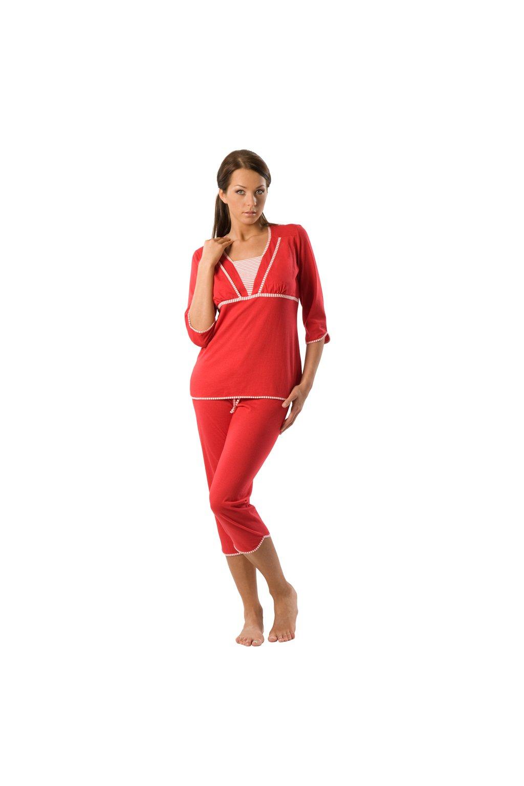 Dámské pyžamo s 3/4 rukávem, 104118 598, červená