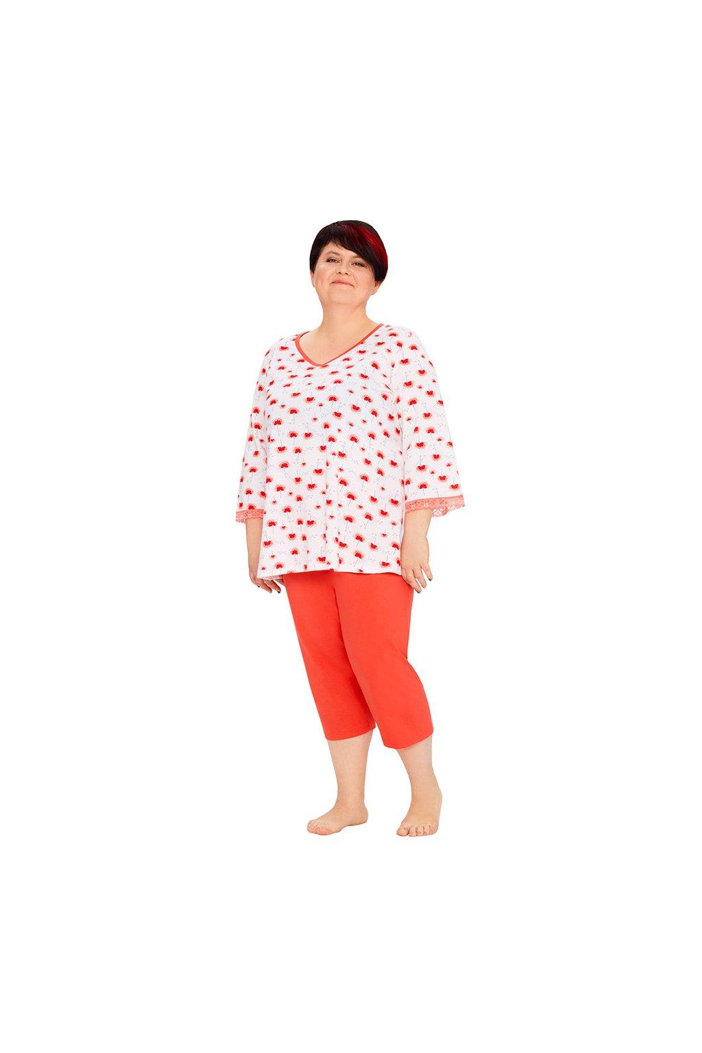 Dámské pyžamo s 3/4 rukávem, 104411 270, červená