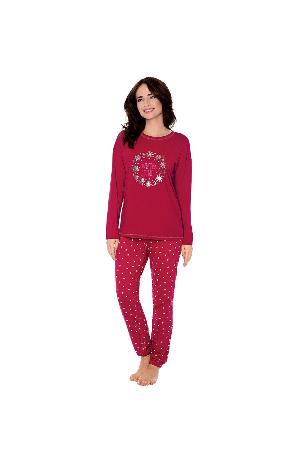 Dámské pyžamo s dlouhým rukávem, 104502 461, bordó