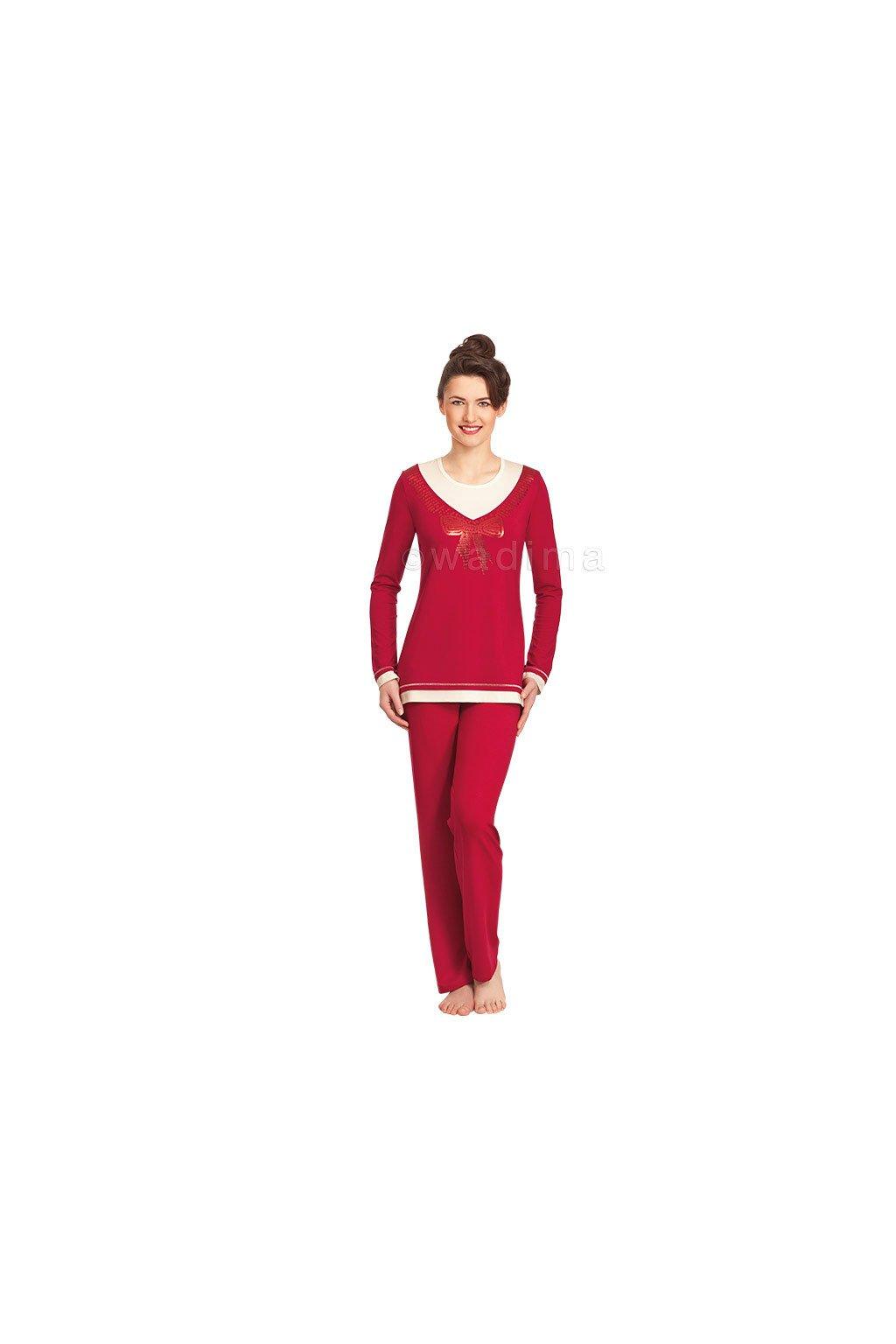 Dámské pyžamo s dlouhým rukávem, 104285 77, rubínová