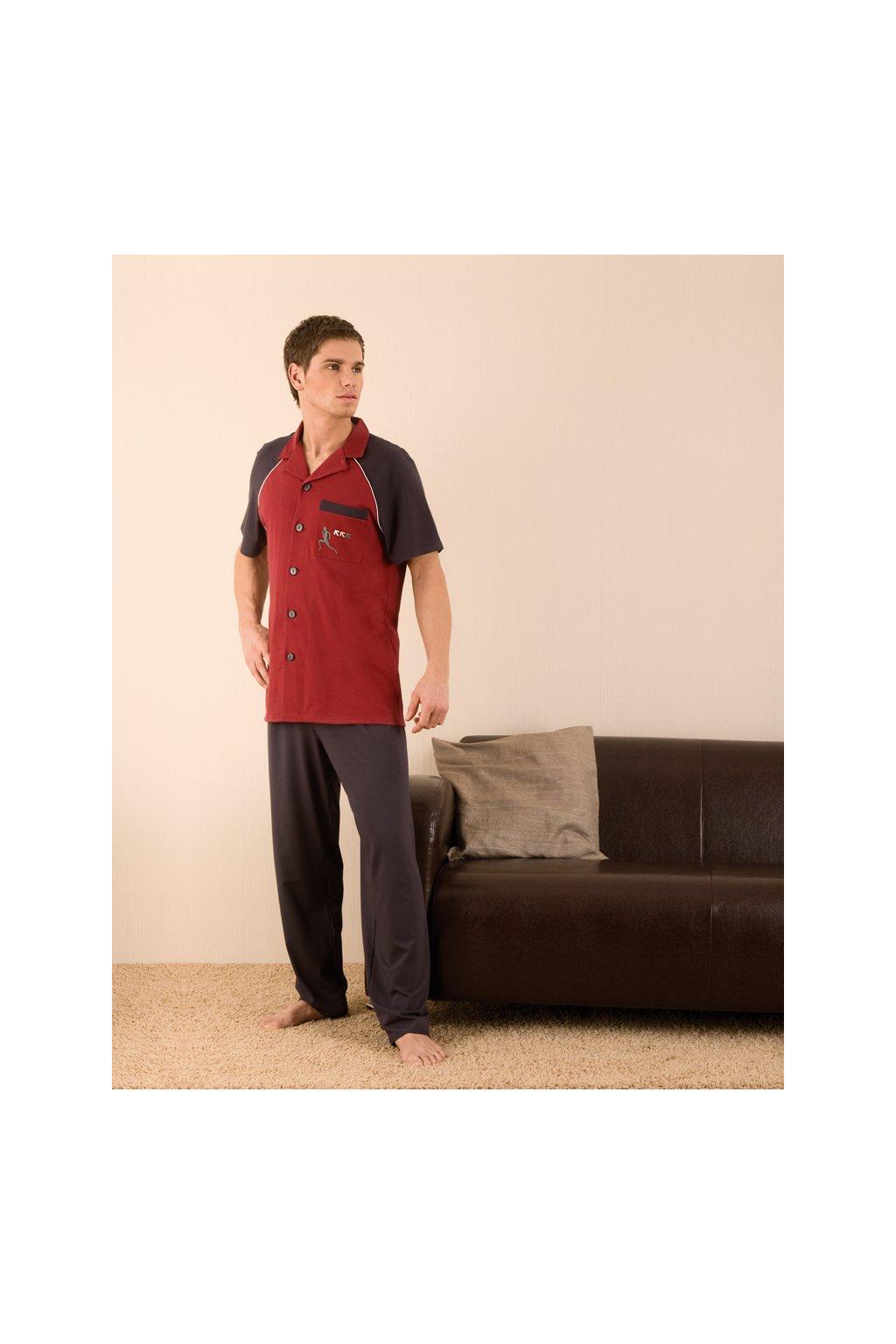 Pánské pyžamo s krátkým rukávem a dlouhými nohavicemi, 20422 566, vínová/hnědá