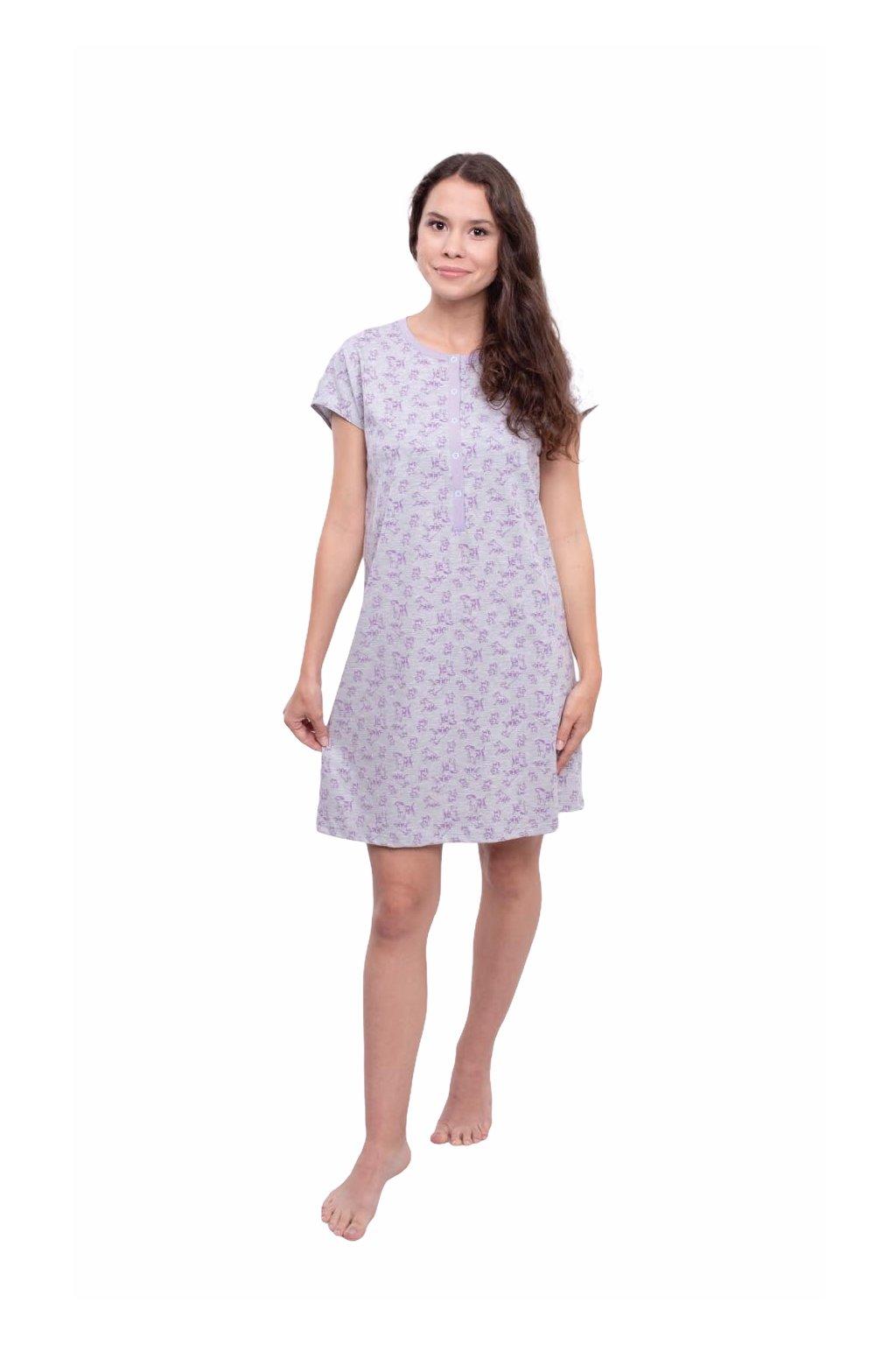 Dámská noční košile s krátkým rukávem, 104564 12, fialová