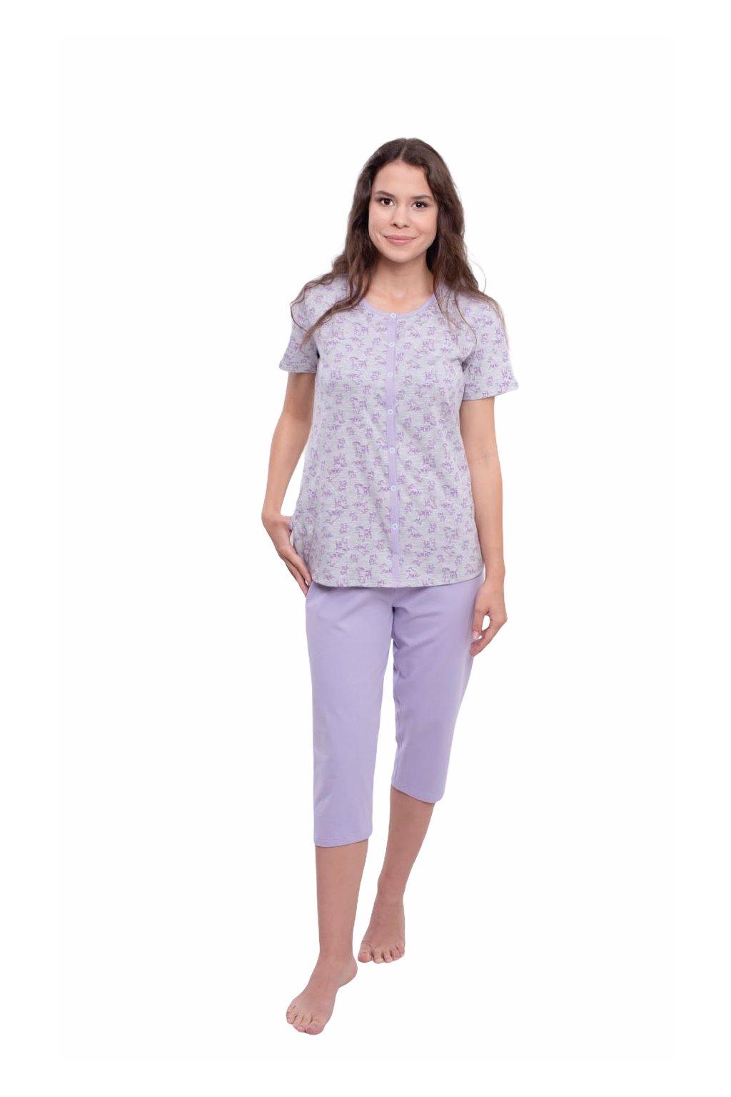 Dámské pyžamo s krátkým rukávem a 3/4 nohavicemi, 104566 12, fialová