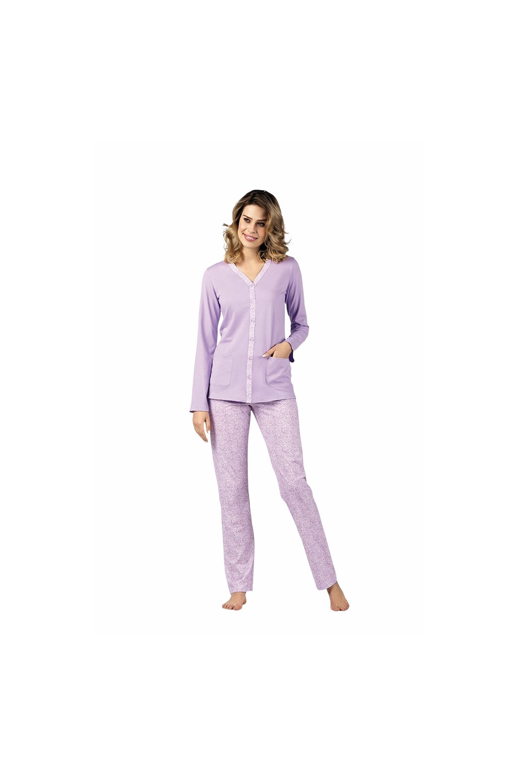 Dámské pyžamo s dlouhým rukávem, 104426 334, fialová