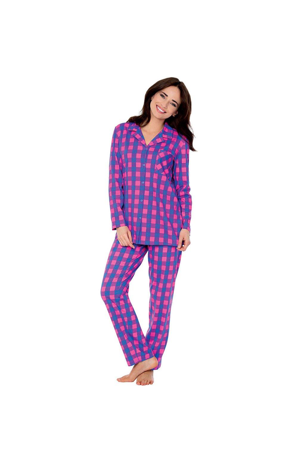 Dámské pyžamo s dlouhým rukávem, 104463 459, modrá