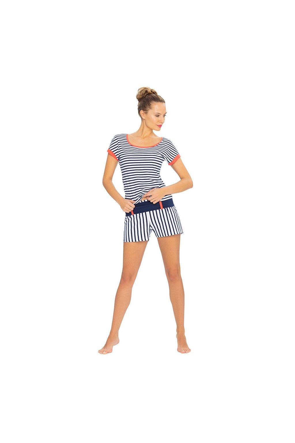 Dámské pyžamo s krátkým rukávem, 104406 28, modrá