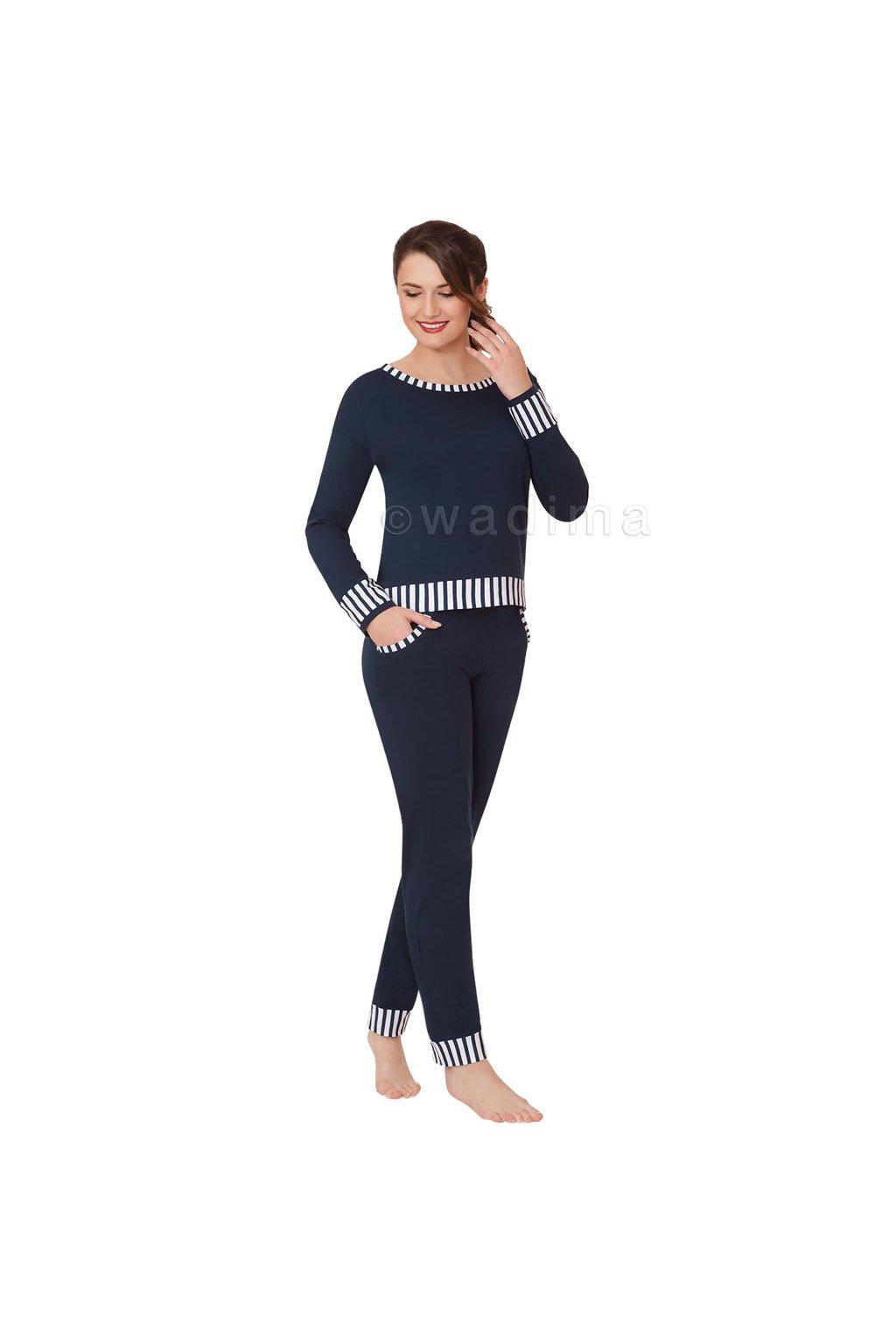 Dámské pyžamo s dlouhým rukávem, 104384 28, modrá