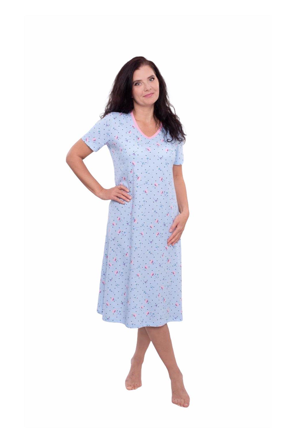 Dámská noční košile s krátkým rukávem, 104572 167, modrá