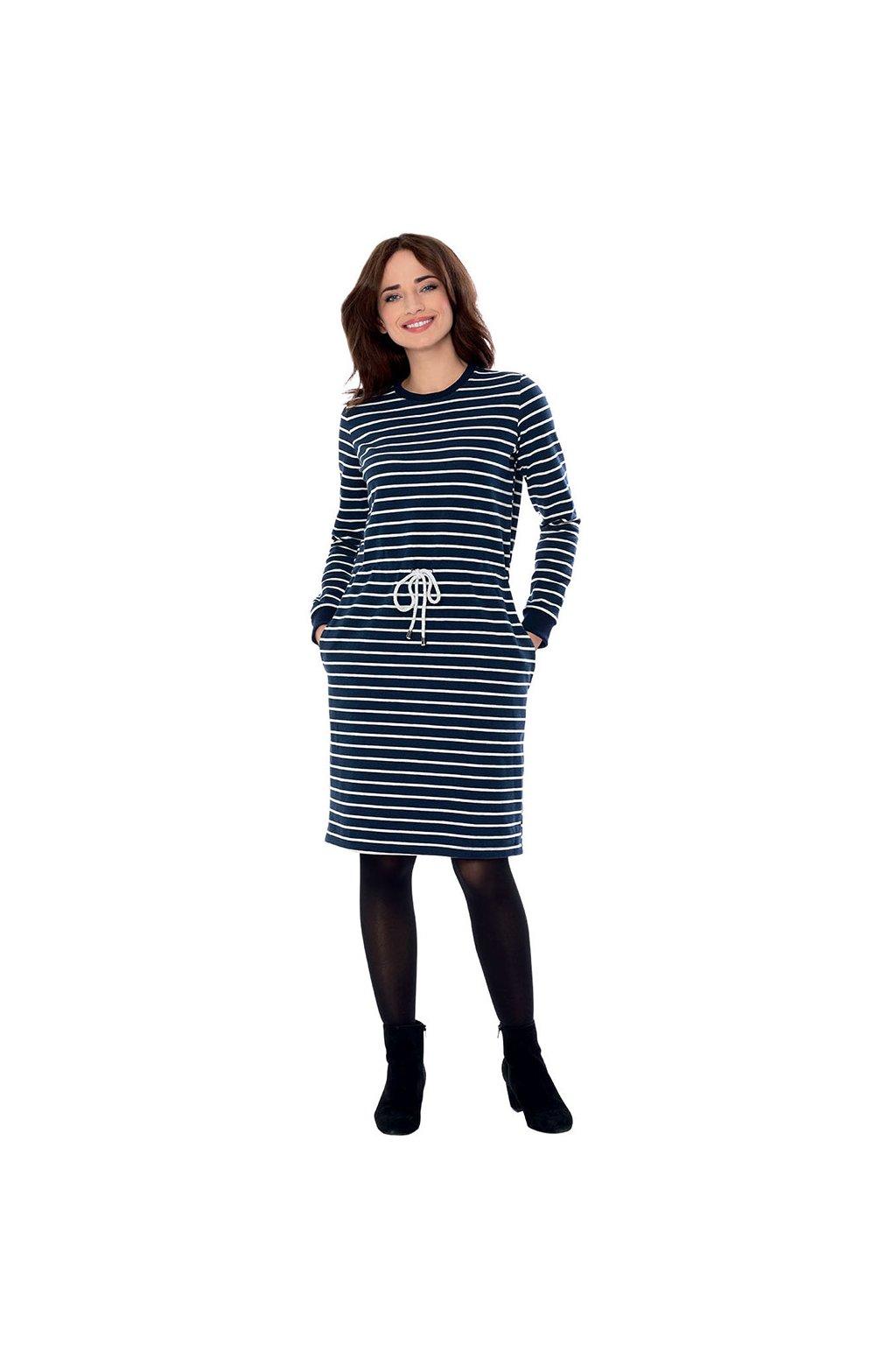 Dámské šaty s dlouhým rukávem, 105113 101, tmavě modrá