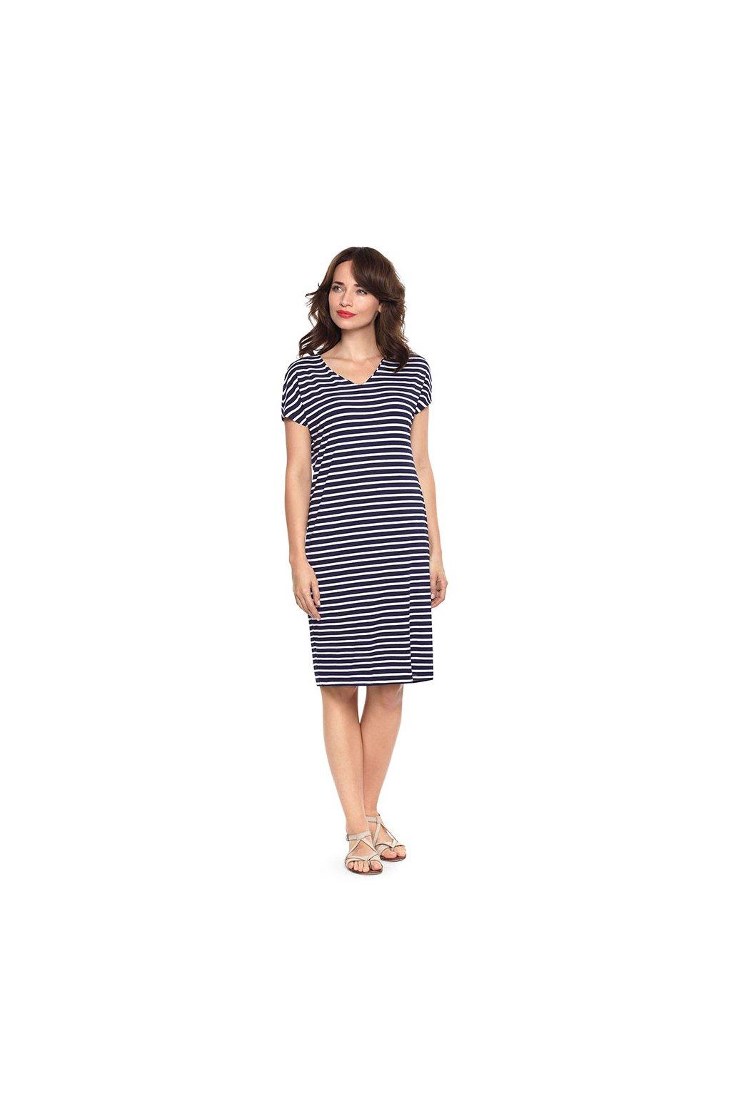Dámské šaty s krátkým rukávem, 105106 101, tmavě modrá