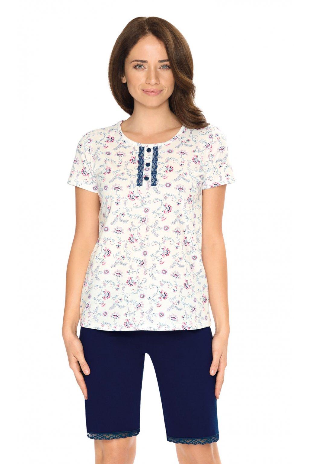 Dámské pyžamo s krátkým rukávem, 104526 163, tmavě modrá