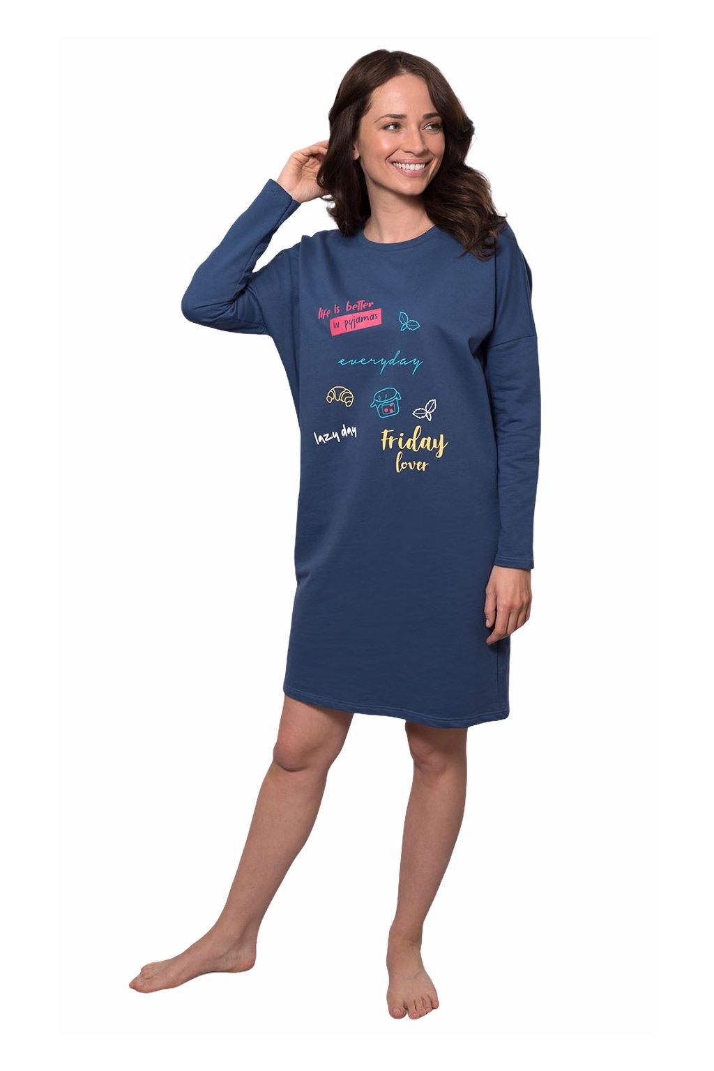 Dámská noční košile s dlouhým rukávem, 104531 491, modrá