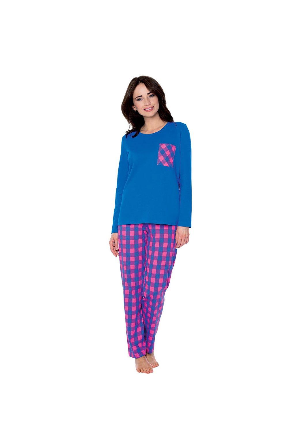Dámské pyžamo s dlouhým rukávem, 104504 459, modrá