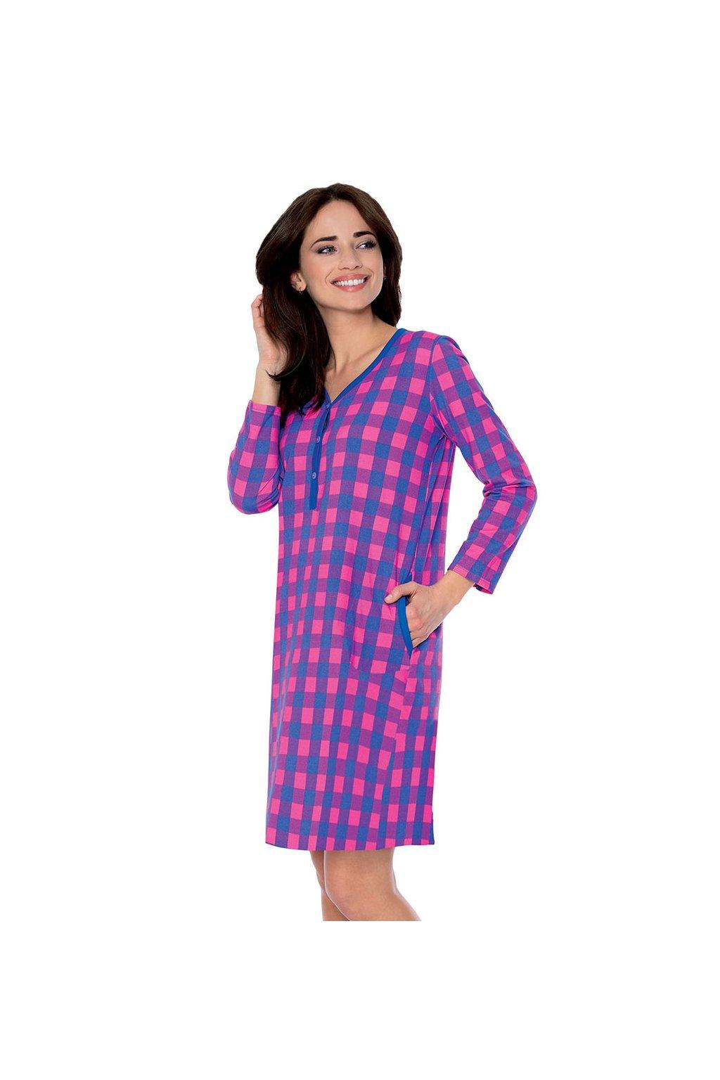 Dámská noční košile se 7/8 rukávem, 104506 459, modrá