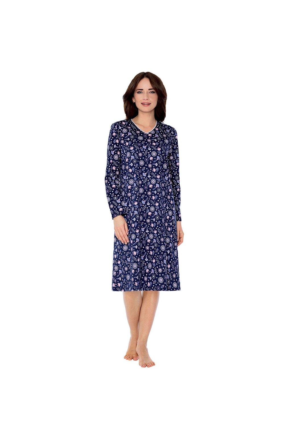 Dámská noční košile s dlouhým rukávem, 104501 163, tmavě modrá
